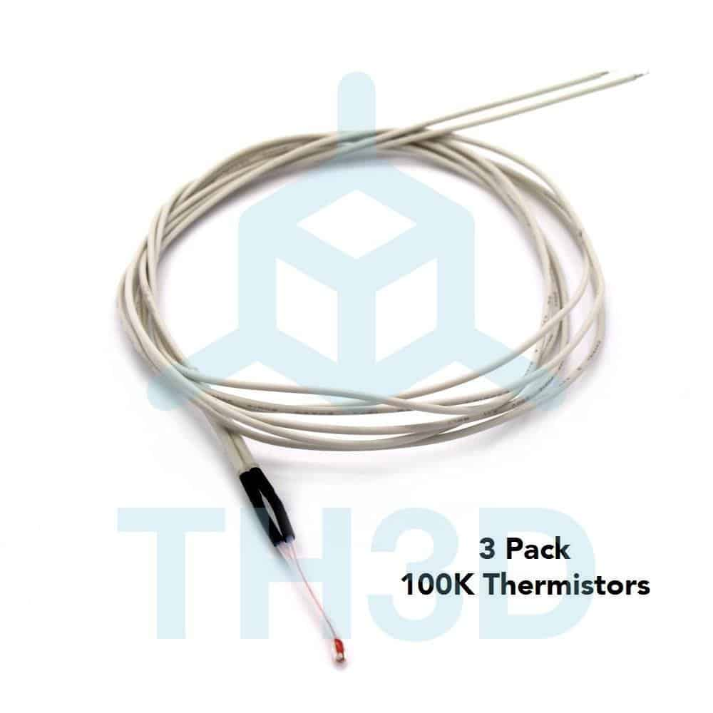 3 Pack 100K Thermistor - CR-10, Tornado, Ender 2, and Most 3D Printers