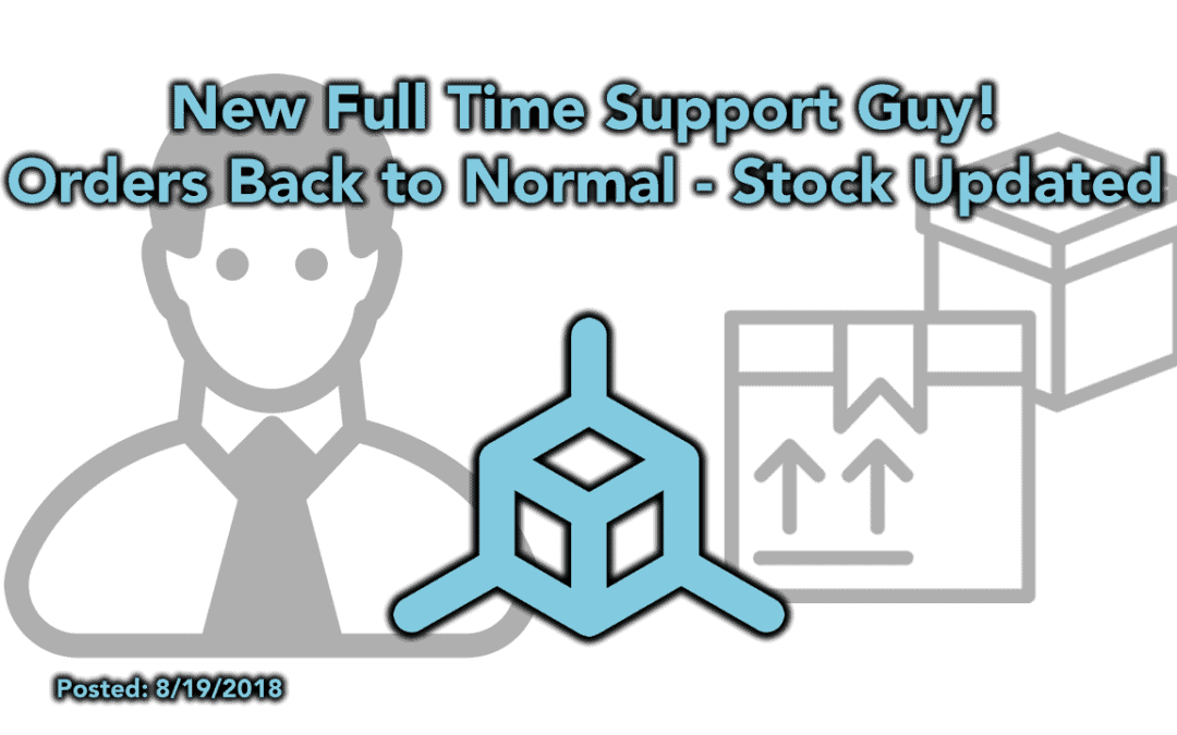 Welcome our New Support Guy – Orders Back to Normal – Stock Updates